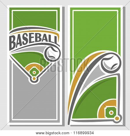 Vector illustrations for text on the theme of baseball