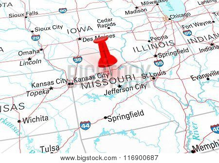 Red Thumbtack Over Missouri State Usa Map