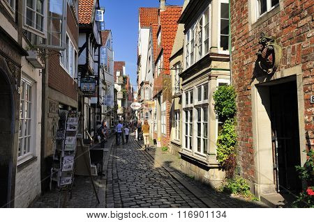 Old Street At Schnoor Quarter, Oldest District Of Bremen, German