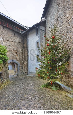 View To Chillon Castle Inner Bailey With Christmas Tree