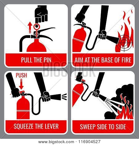 Fire extinguisher vector instruction