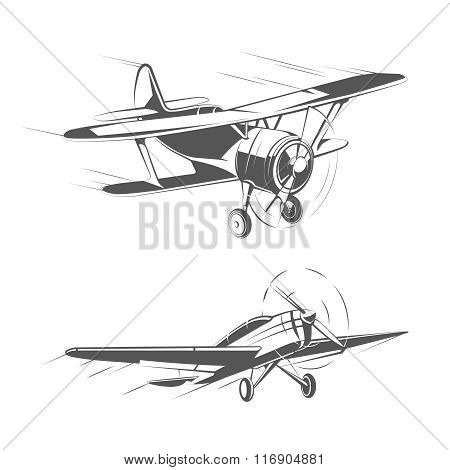 Biplane and monoplane aircrafts for vintage emblems, badges logos vector set