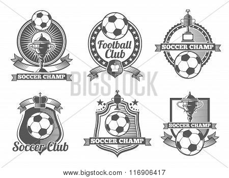 Football or soccer vintage vector labels, logos, emblems