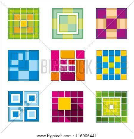Geometric cube, square shapes for logo