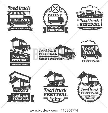 Food truck festival emblems and logos vector set