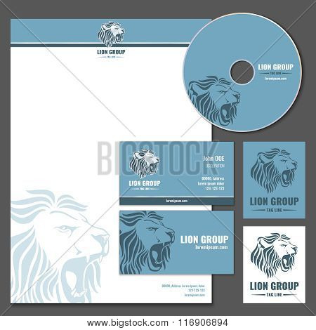 Business card vector template with lion logo