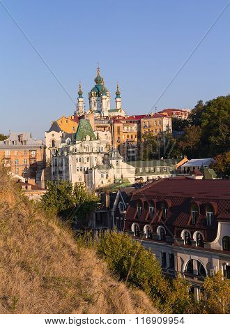 St. Andrew's Church And The Old Houses On The St. Andrew's Descent. Kiev, Ukraine