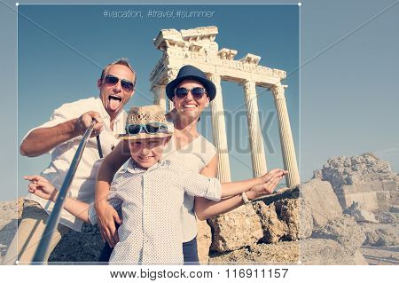 Happy Family Selfie Travel Photo Cropping For Share In Social Network