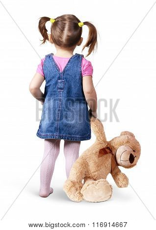 Child Girl With Toy Bear On White, Back View