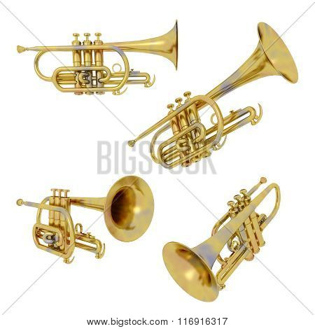 Trumpets isolated on white background