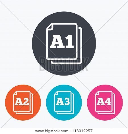 Paper size standard icons. Document symbols. A1, A2, A3 and A4 page signs. Circle flat buttons with icon. poster