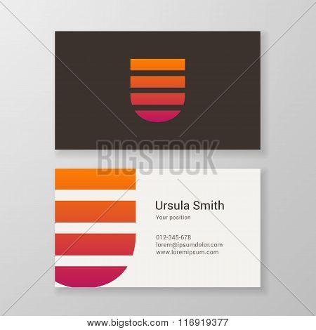 Letter U Stripes Business Card Template