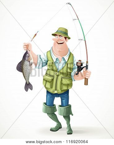 Fisherman In Rubber Boots With A Caught Fish And A Fishing Rod I