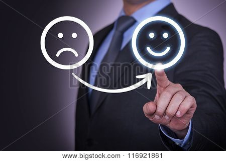 Unhappy and Happy Smileys on Screen