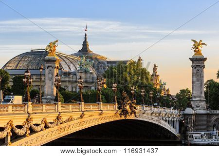 Alexander III bridge at dawn in Paris, France