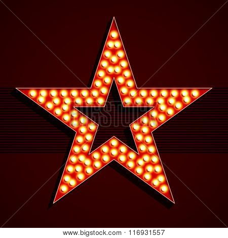 Broadway style light bulb star shape. Vector.
