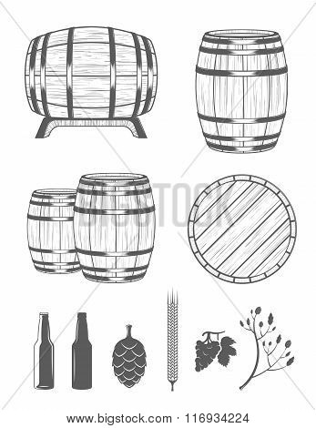 Vector set of barrels and design elements alcohol in vintage style. Collection barrels on a white background - stock vector.