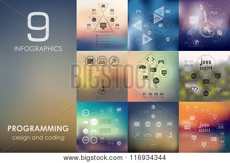 programming infographic with unfocused background
