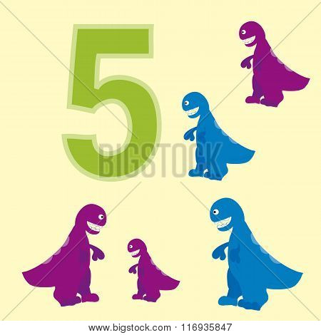 The Number 5. Five Dinosaurs (t-rex ).