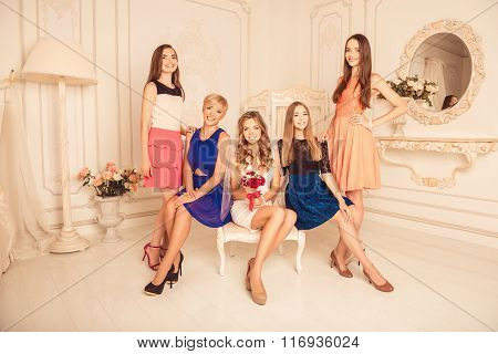 Beautiful Effective Girls Celebrating A Bachelorette Party Of Bride
