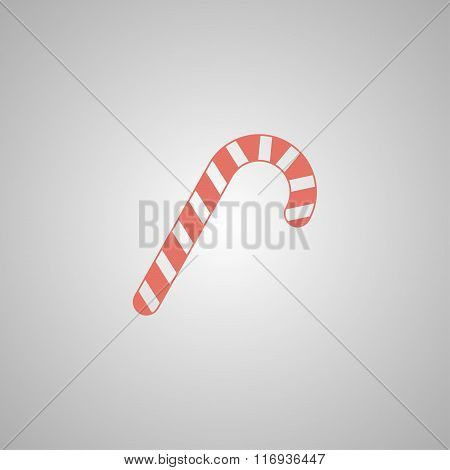 Christmas peppermint candy cane with stripes flat icon for apps and websites.