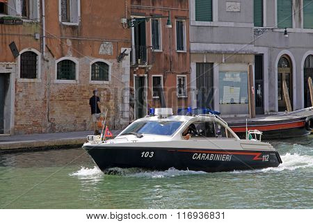 Venice, Italy - September 02, 2012: Police Boat In Venice