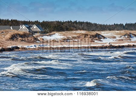 Winter view of Cavendish beach in the Prince Edward Island National Park.