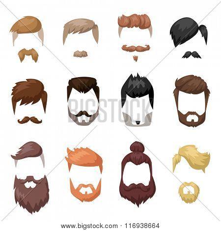 Hairstyles beard and hair face cut mask flat cartoon collection. Vector male beard hair illustration. Flat hair and beards fashion style