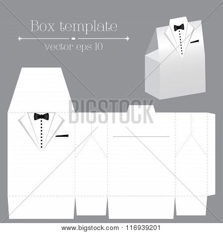 Vector Tuxado Box Template. White Color