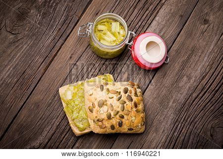 homemade leek marmalade with breadroll