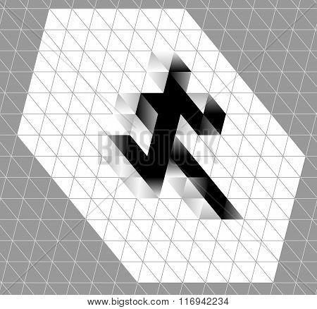 Abstract Running Man Symbol. Winner Runner Logo Illustration. Movement Graphics