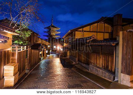 Kyoto Old City And Yasaka Pagoda At Dusk