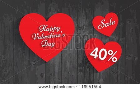 Valentine`s Day Sale, 40 Percent Discount. Vector Eps 10.
