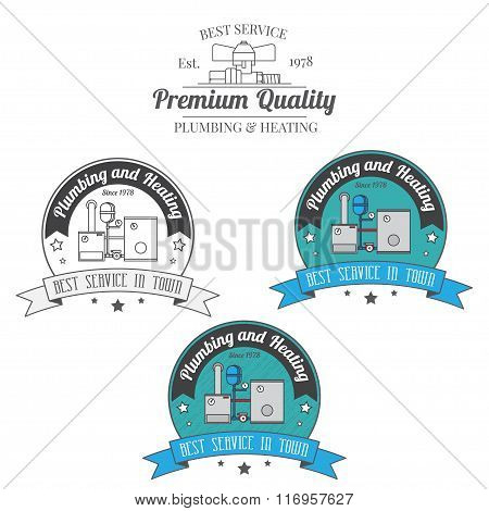 Set Of Plumbing And Heating Vintage Labels. Outdoor For You Company Logo Design. Central Heating Sys