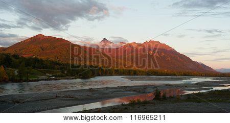 Mountains Matanuska River Palmer Alaska Sunset