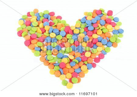 Colorful candy heart for Valentine's Day isolated on white background poster
