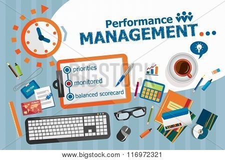 Performance management design concept. Typographic poster. Performance management concepts for web banner and printed materials. poster