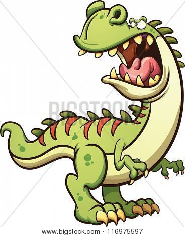 Roaring cartoon T-Rex dinosaur. Vector clip art illustration with simple gradients. All in a single layer.