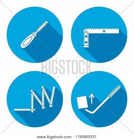 Measuring instrument, folding rule, chisel, angle, scrap, pinchbar icon. Repair, fix, elevate, measu