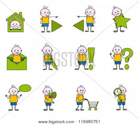 child web icons - sketchy little boy, vector