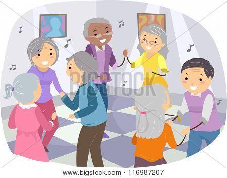 Illustration of Senior Citizens Happily Dancing