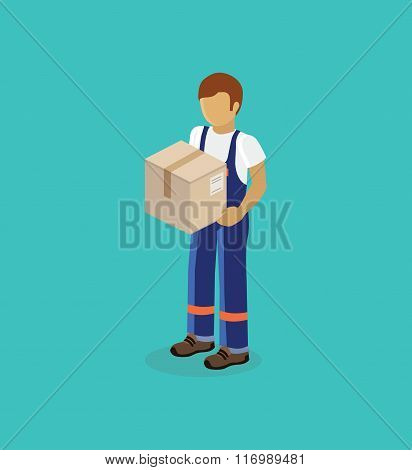 Man Delivery of Box Isolated Design