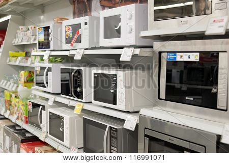 Moscow Russia - February 02. 2016. microwave ovenin Eldorado is large chain stores selling electronics