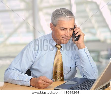 Businessman With Laptop And Phone