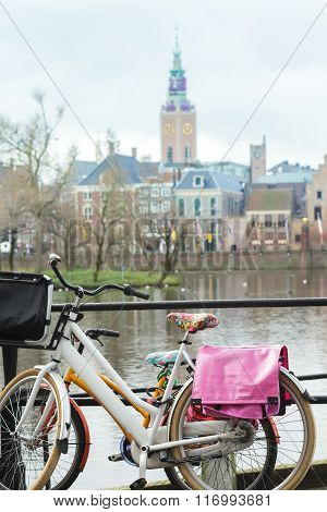 Dutch bikes with floral pattern saddle covers at Court Pond and Grote of Sint-Jacobskerk background