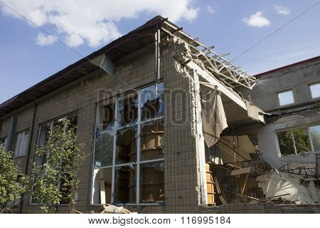 Broken Glass And Building Of Military Weapons In Donetsk
