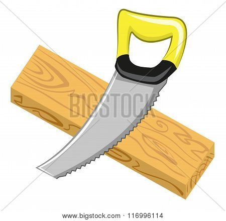 Handsaw and wood board