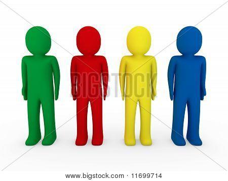 3D Human Team Blue Red Green Yellow