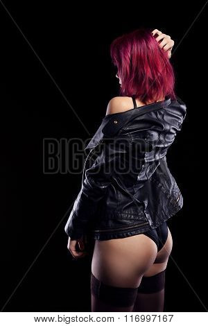 Redhead Girl In Underwear And Leather Jacket