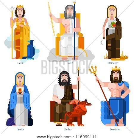 Color olympic gods icons set in cartoon style on white background with gera, zeus, demeter, hestia, hades, poseidon persons flat isolated vector illustration